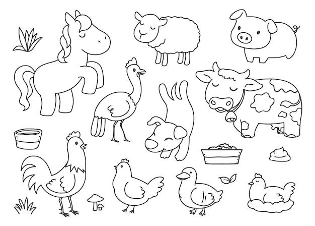 Boerderijdieren doodle illustraties