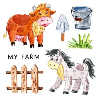 Boerderijdieren illustraties, set van elementen. aquarel illustratie.