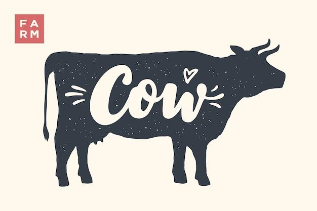 Boerderijdieren instellen. koe silhouet en woorden cow, farm. creatieve afbeelding met belettering koe voor slagerij, boerenmarkt. affiche voor dierenthema. illustratie
