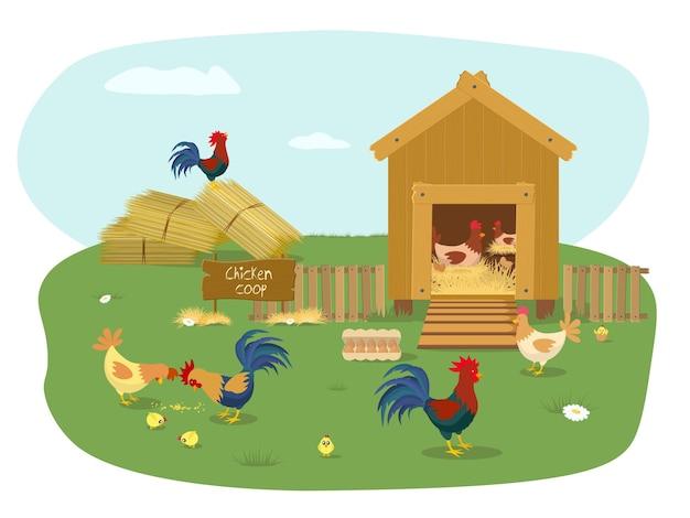 Boerderijdieren kippenhok met veel kuikens