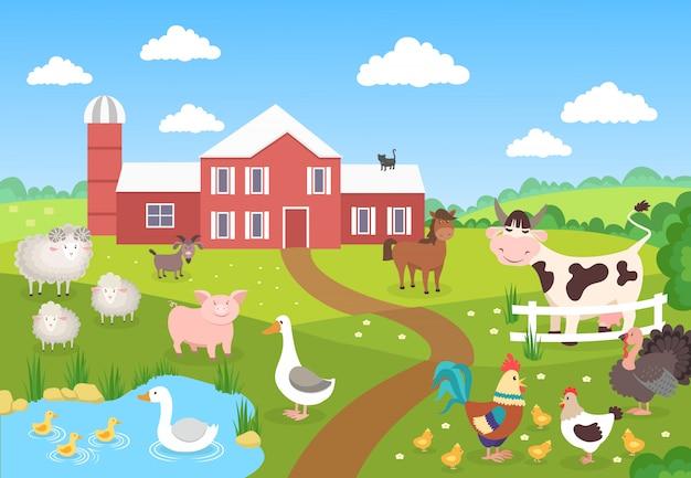 Boerderijdieren met landschap. paard varken eend kippen schapen. cartoon dorp voor kinderboek. boerderij achtergrondscène