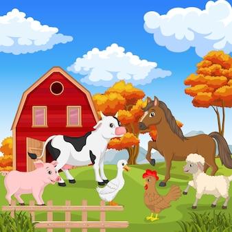 Boerderijdieren op de landbouwachtergrond