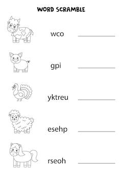 Boerderijdieren woord scramble voor kinderen. sorteer de letters in de juiste volgorde. werkblad voor kinderen.