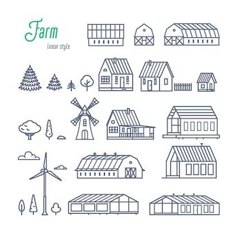 Boerderijgebouwen en elementen set