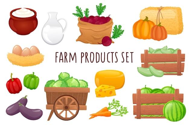 Boerderijproducten pictogrammenset in realistisch 3d-ontwerp bundel van melk kaas eieren watermeloenen