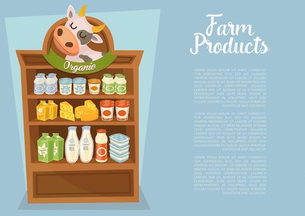 Boerderijproducten sjabloon met schappen van de supermarkt
