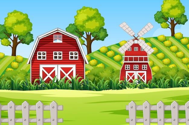Boerderijscène in de natuur met schuur en windmolen