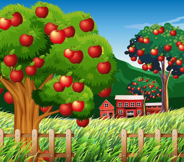 Boerderijscène met grote appelboom