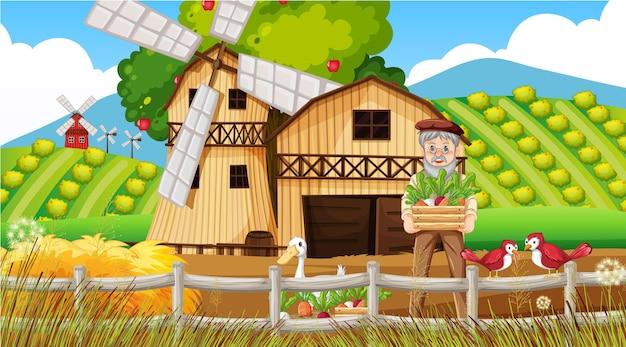 Boerderijscène met oude boerenman en boerderijdieren