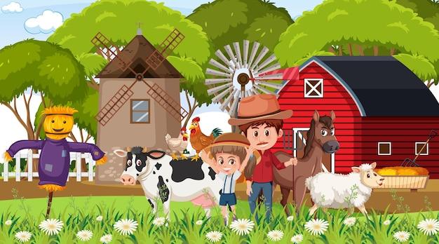 Boerderijscène met veel stripfiguren voor kinderen en boerderijdieren