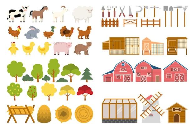 Boerderijset landbouwgereedschap en gebruiksvoorwerpen voor het kweken van planten en het voeren van dieren
