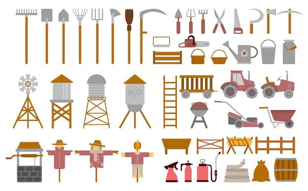 Boerderijset landbouwgereedschap en gebruiksvoorwerpen voor het verbouwen van tarwegraan