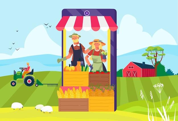 Boerderijvoedsel bij de online illustratie van de smartphonewinkel