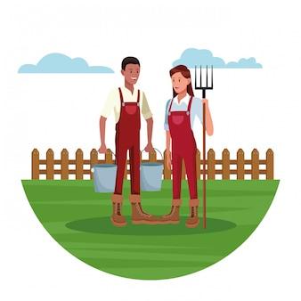 Boeren die in boerderijbeeldverhalen werken