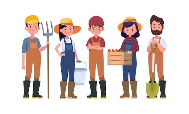 Boeren en oogstpersonages, landarbeiders.