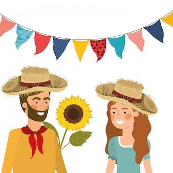 Boeren koppelen praten met strooien hoed