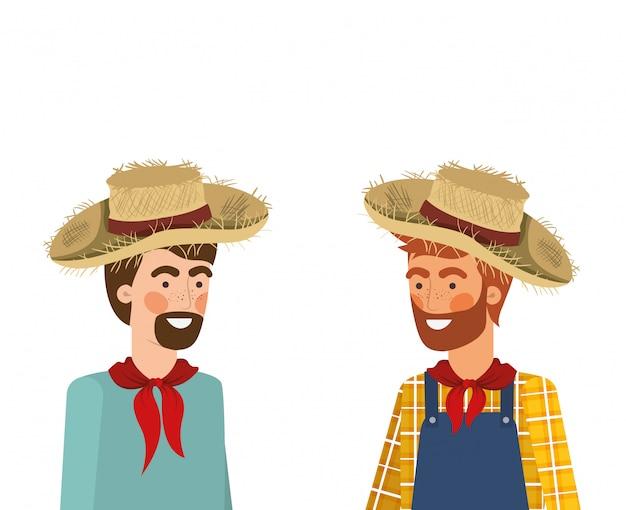 Boeren mannen praten met strooien hoed