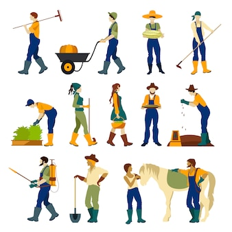 Boeren op het werk flat tekenset