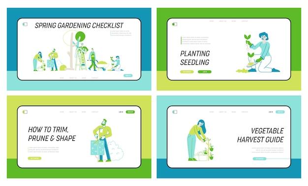 Boeren, trimmen, verzorgen van bomen en planten landingspagina sjabloon set