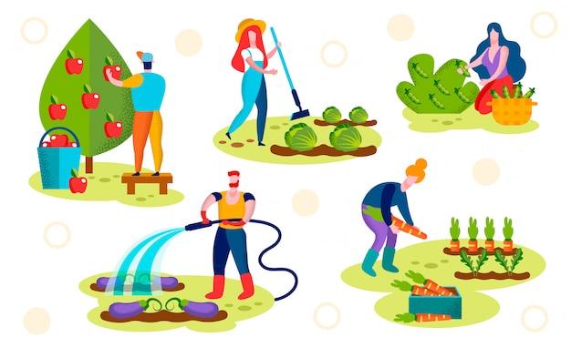 Boeren verzorgen van planten set. tuinbouw, tuin