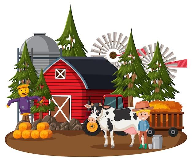 Boerenhuis met boer en boerderijdieren Premium Vector