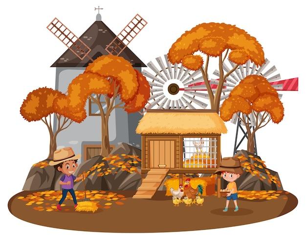 Boerenhuis met kinderen op witte achtergrond