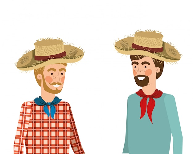Boerenmannen die met strohoed spreken