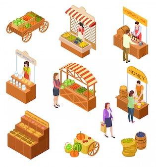 Boerenmarkt isometrisch. mensen verkopen en kopen traditionele maaltijden, groenten en fruit op de voedselmarkt met kraampjes