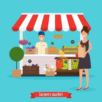 Boerenmarkt. vrouw houdt papieren zak met gezond voedsel.