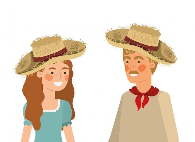 Boerenpaar praten met strohoed