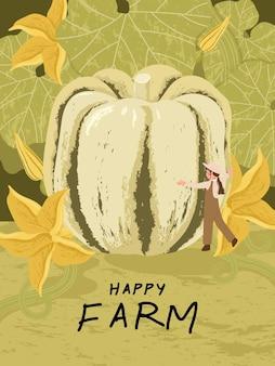 Boerenstripfiguren met zoete knoedelpompoenoogst in illustraties van boerderijposters