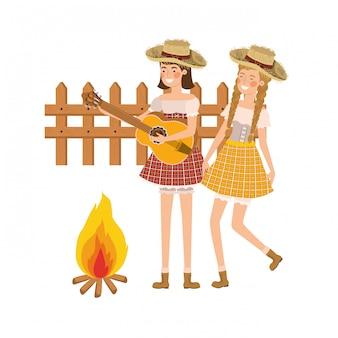 Boerenvrouwen met muziekinstrument