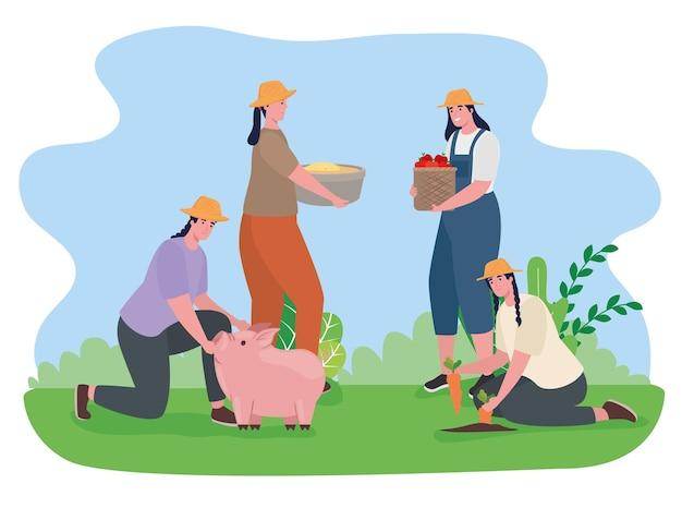 Boerenvrouwen met varkentje