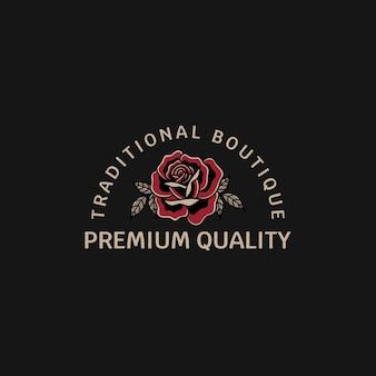 Boetiekwinkel en prachtige rozen met traditionele tattoo-stijl