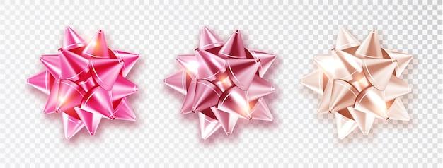 Bogen instellen roze tinten voor valentijnsdag ontwerp geïsoleerde achtergrond een transparante achtergrond. realistische decoratie. vector illustratie