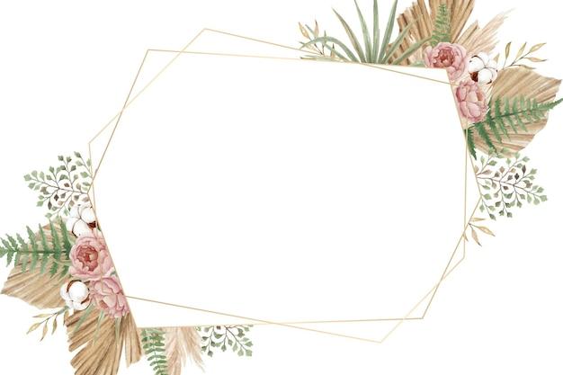 Boheems bloemenframe met pioenrozen, varen, pampa's en droge bladeren