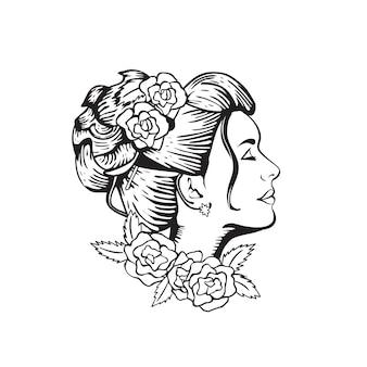 Boheemse bruid lijntekeningen
