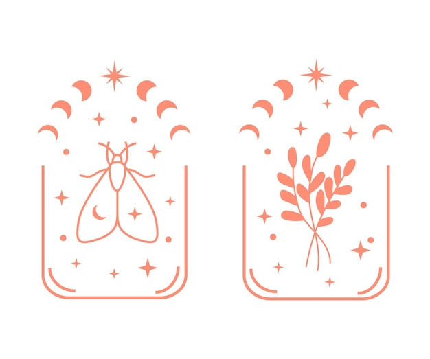 Boheemse illustratie met bloemenmaanfase en vlinder