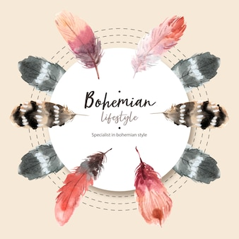 Boheemse kransontwerp met verschillende veren aquarel illustratie,