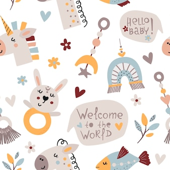 Boheemse naadloze patroon met schattige baby-elementen
