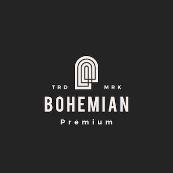 Boheemse niche deur hipster vintage logo