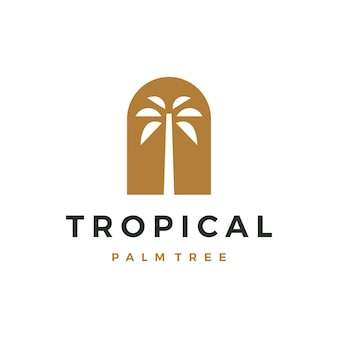 Boheemse palmboom niche deur logo vector pictogram illustratie