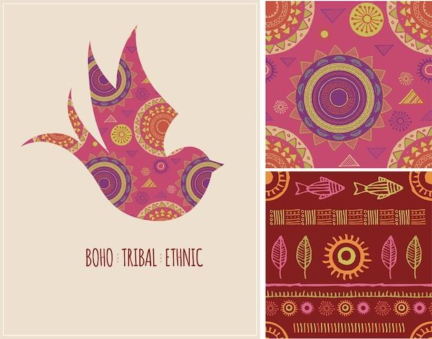 Boheemse tribale etnische achtergrond met zwaluwvogel en patronen