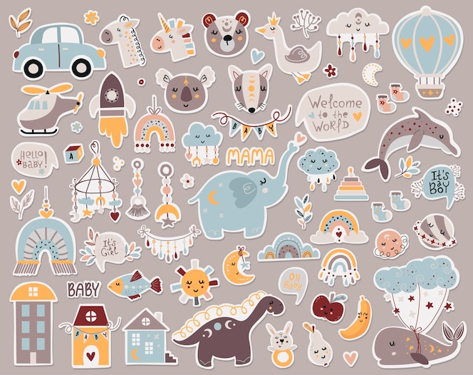Bohemian baby shower stickers collectie