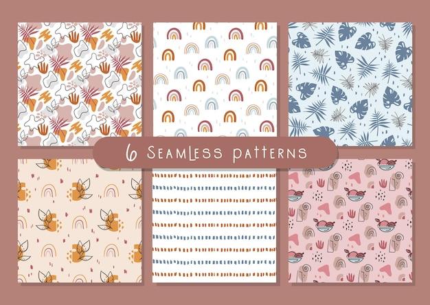 Boho abstract naadloos patroon of digitale papierbundel eenvoudige geometrische en bloemenachtergrond