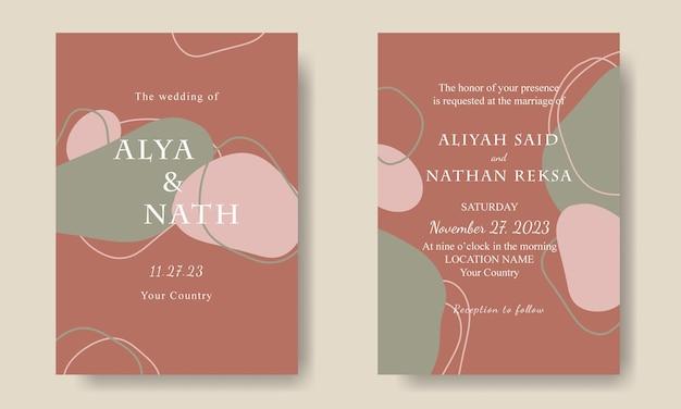 Boho abstracte vorm bruiloft uitnodiging kaartsjabloon