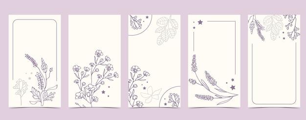 Boho achtergrond voor sociale media met lavendel, bloem op witte achtergrond