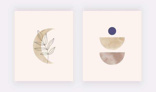 Boho aquarel maan met blad wall art print