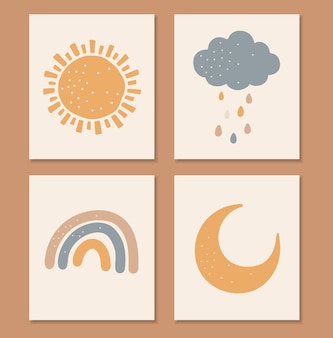 Boho baby-elementen, abstrcat zon, maan, regenboog en wolk, schattige baby, boho kids print, geïsoleerde elementen, boho set, illustratie