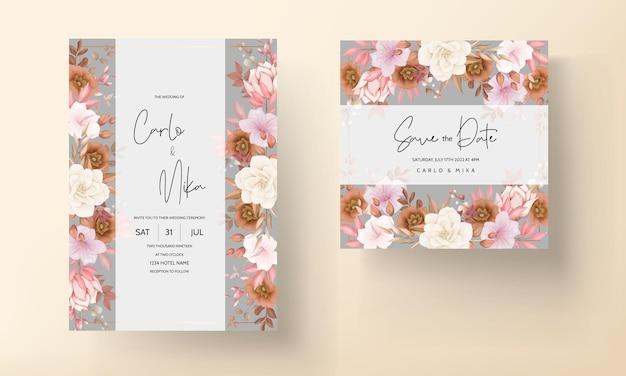 Boho bloemen bruiloft uitnodigingskaart